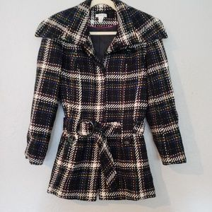 Harold's Womens Pea Coat - plaid, belted Size 8
